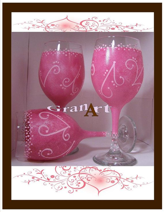 Pretty-n-Pink Wine Glass, Shades of Pink, Pink, Wedding Glass, Bride's Maid Wine Glass, Pink Wine Glass, Painted Wine Glass, Pink Glass