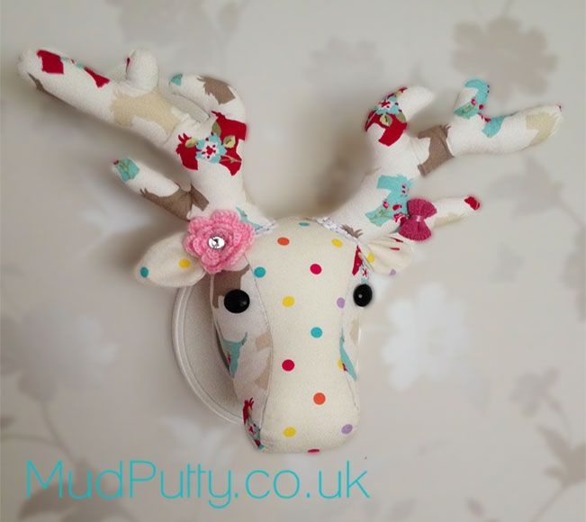 We love taking old traditional ideas and giving them a quirky funky modern twist and this scrummy fabric deer head is great A fun tongue-in-cheek