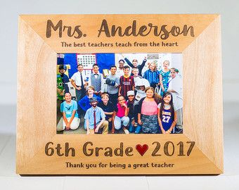 Gift for Teacher, Choose Any Grade, Teacher Name, Heart Color, Teaching Quotes, Childrens Teacher, Class Picture, 4x6 or 5x7 Frame, Kids