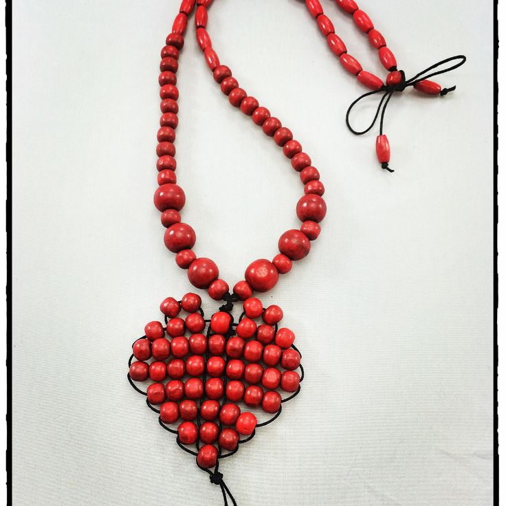 This little heart of mine.... Red wood bead long necklace