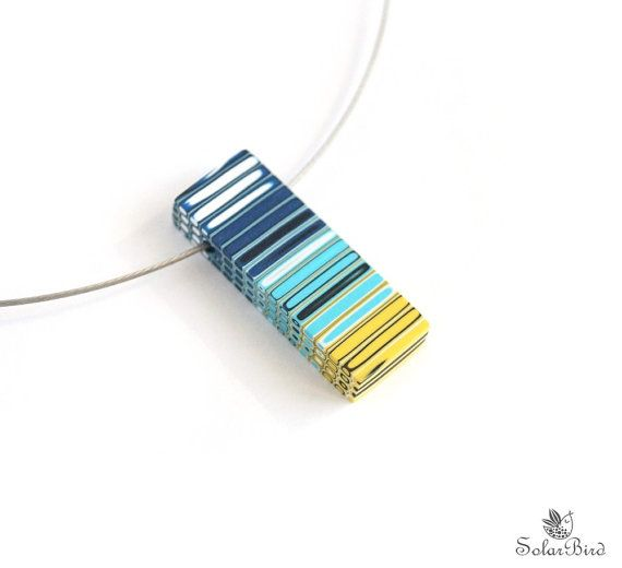 Geometric Striped Necklace blue yellow navy blue by SolarBird, $26.00