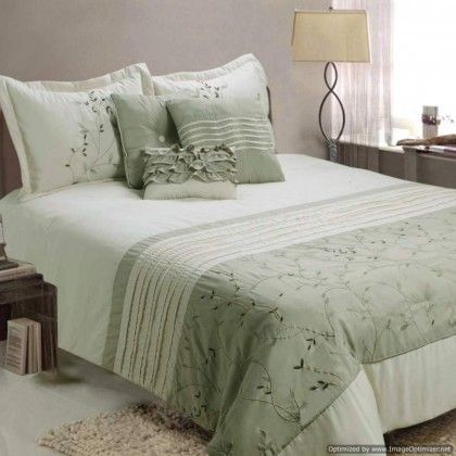 Jenny George Fiona Sage Green Embroidered Comforter Set