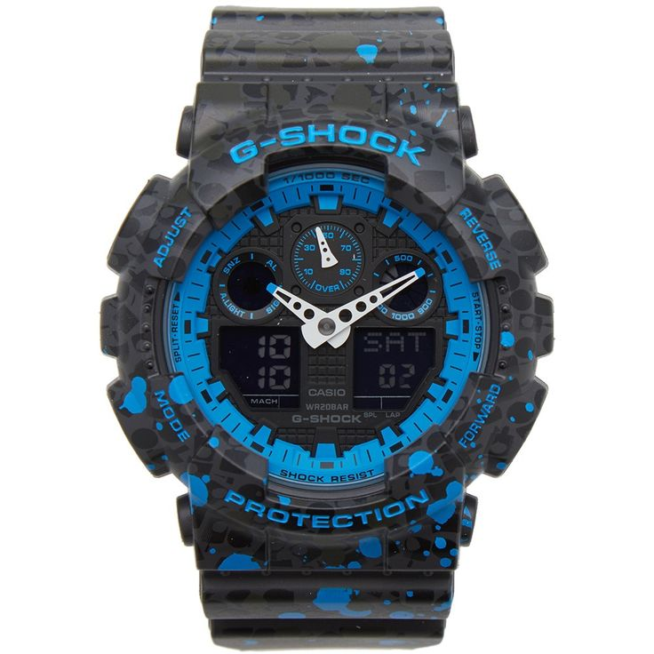 Casio G-Shock join forces with legendary New York street artist, STASH - for their first collaboration - to create the GA-100ST-2AER watch. This limited addition model boasts a black on black print of aerosol caps on the band and case over which a blue splash pattern has been applied. This style also comes with a one-of-a-kind spray can packaging featuring STASH's unique logo, the artist has been an avid G-SHOCK fan since the late 1980s. This watch comes equipped with G-SHOCK's renow...