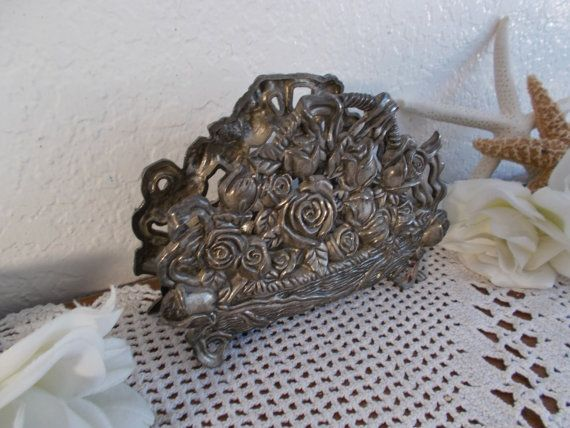 Vintage Silver Napkin Holder Mail Desk Accessory Metal Roses In Basket Sturdy Rustic Beach Cottage Country Farmhouse Home Decor
