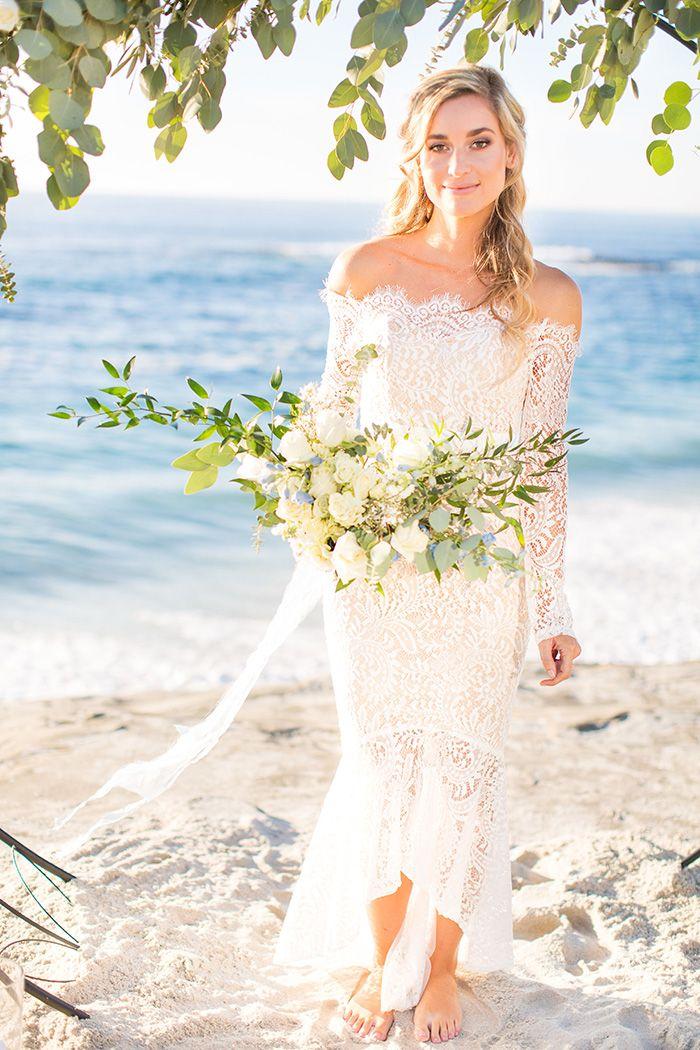 Barefoot Beach Bride in an Off the Shoulder Wedding Dress  https://heyweddinglady.com/barefoot-beach-bride-coastal-elopement/    #wedding #weddings #weddinginspiration #elopement #elope #beachwedding #beacjh #greenery #bohobride #bohemian #bohemianwedding