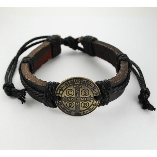 Leather St. Benedict Rope Bracelet - rugged and versatile design that works for men, women, and teens.