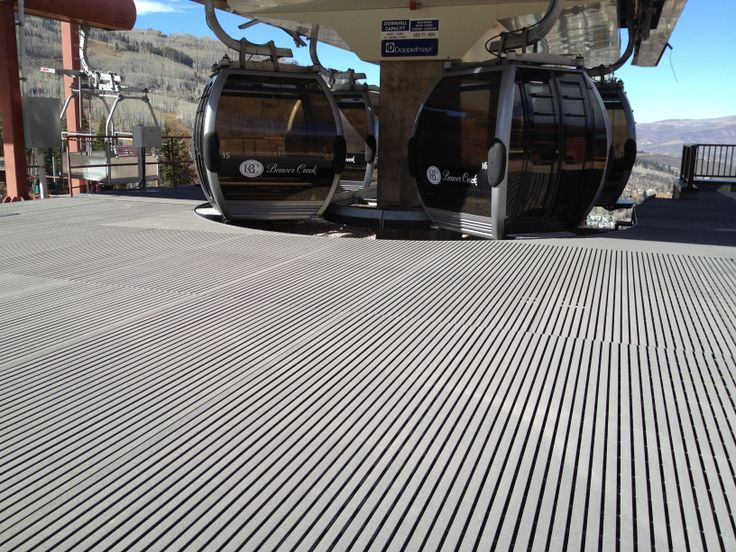 Pultruded Fiberglass Grating at ski lift in Beaver Creek. You can get this grating from Marco Specialty Steel