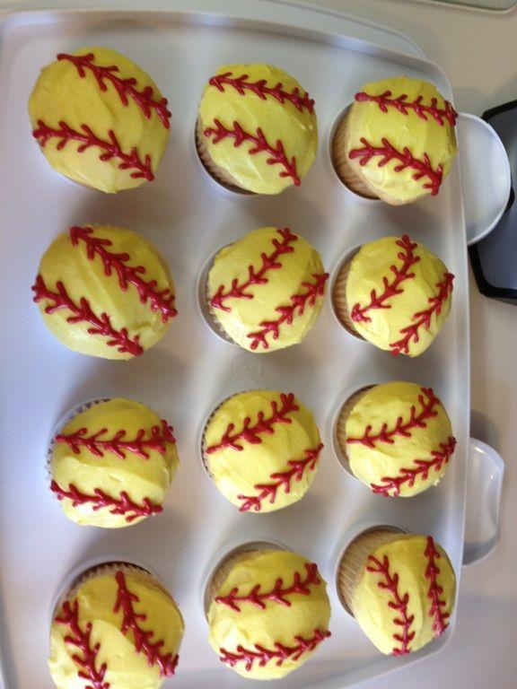 Softball cupcakes. @Kyrstyn Naylor Naylor Green make these for me.(: