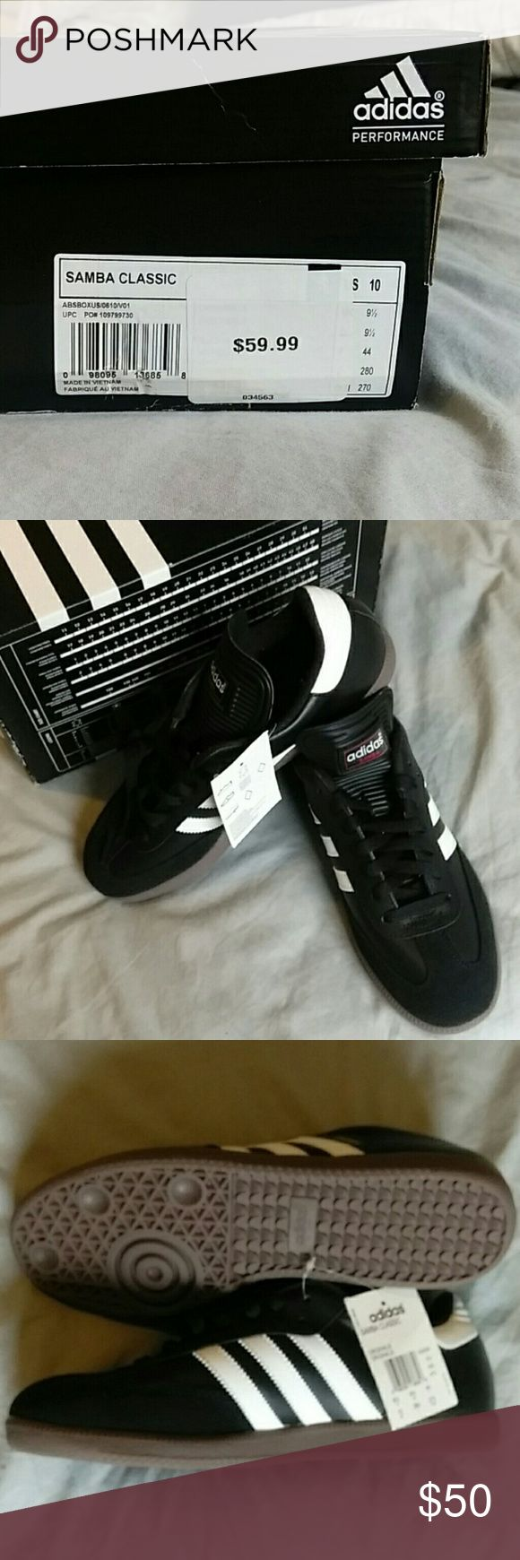 Adidas Samba Classic Cool pair of never-worn Adidas Samba sneaks. Fresh black and white leather. Style up or down for your hot date or indoor football match. Adidas Shoes Athletic Shoes