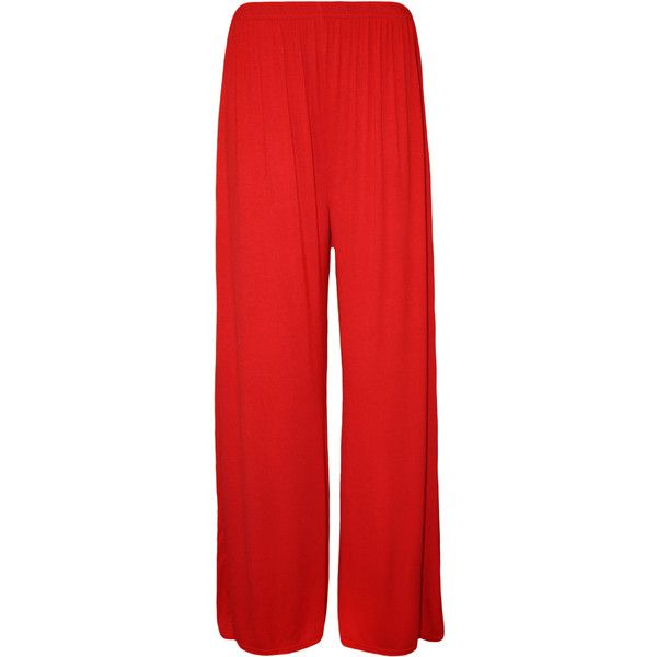 WearAll Taliyah Wide Leg Palazzo Trousers ($15) ❤ liked on Polyvore featuring pants, red, red trousers, elastic waistband pants, elastic waist wide leg pants, wide-leg pants e summer pants