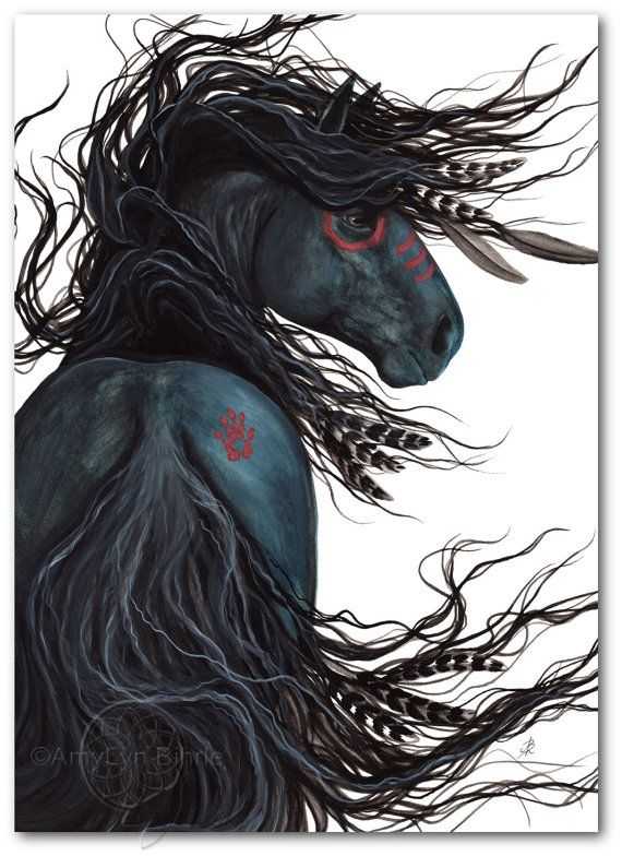 Majestic Mustang Black Stallion Native American Spirit Horse ArT-  Giclee Print by Bihrle mm135