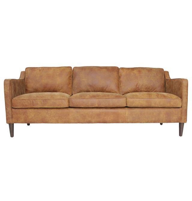Norse Leather 3 Seater Sofa, Matt Blatt