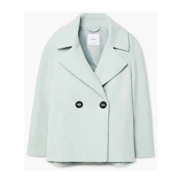 Double-Breasted Coat (3.945 RUB) ❤ liked on Polyvore featuring outerwear, coats, double-breasted wool coats, wool lined coat, woolen coat, mango coats and long sleeve coat