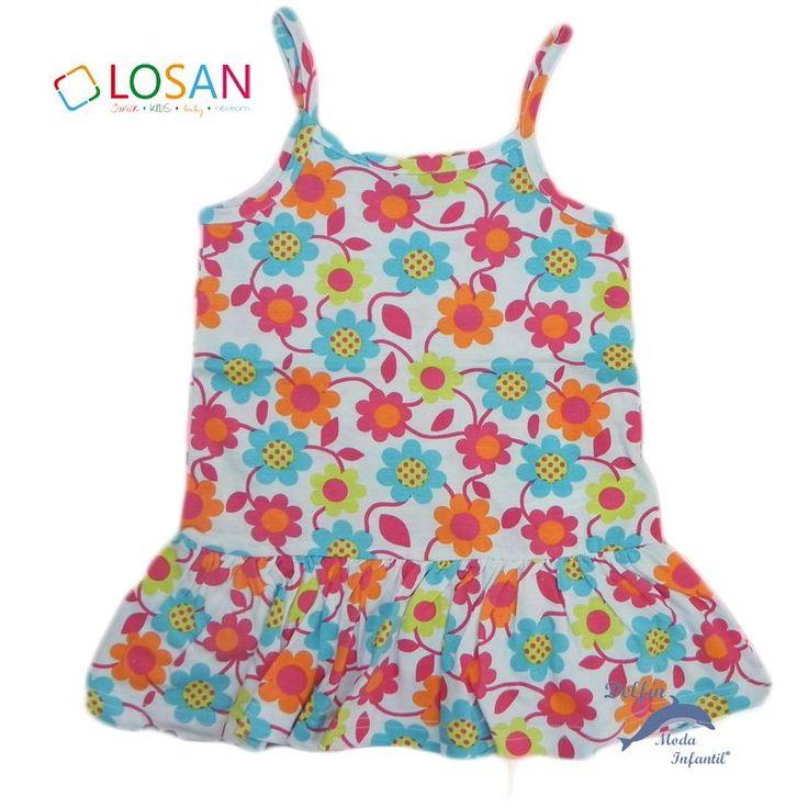 Vestido de algodon para niña LOSAN margaritas en blanco