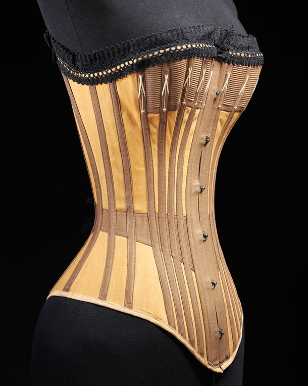 Cotton and whalebone coset, about 1890. l Victoria and Albert Museum