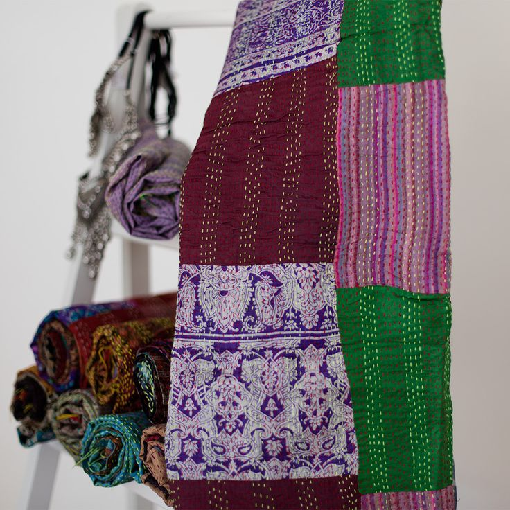 Kantha Silk Scarf 109 | The Hues of India