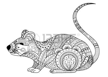 Mano del mouse disegnato per libro da colorare per adulti e altre decorazioni Archivio Fotografico