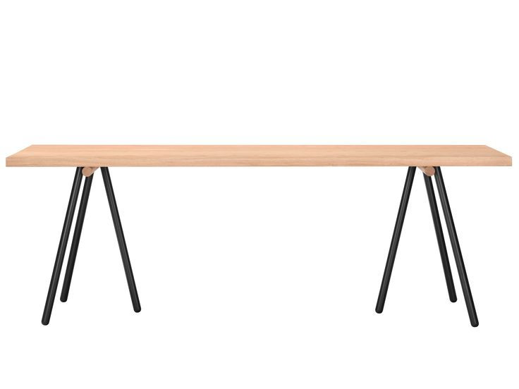 The Tension dining table, oak by Bolia boasts a top finish in lacquered oak, with a frame finish in black lacquered steel. Designed by KaschKasch, this beautiful dining table seats 6-10, and is the perfect compliment to a minimalist dining room.