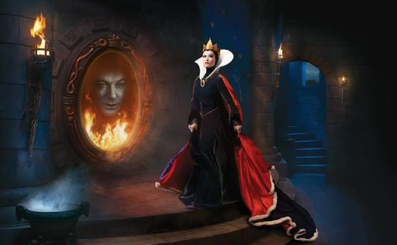 Olivia Wilde as the Evil Queen and Alec Baldwin as the Spirit in the Magic Mirror. Part of Annie Leibovitz's series of Disney Dream Portraits. Awesome.