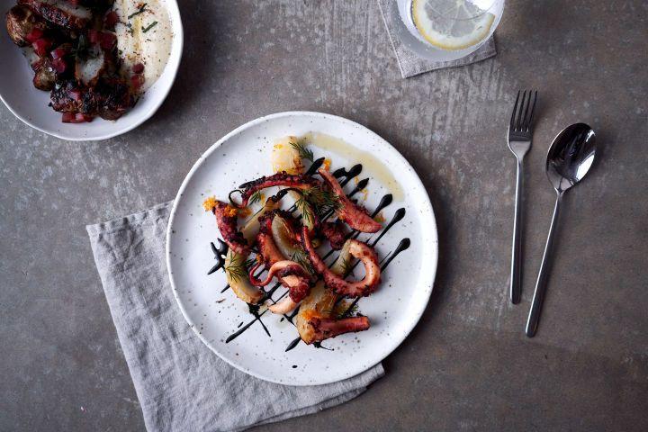 Octopus, fennel, ink sauce