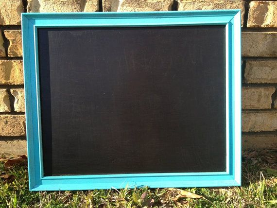 upcycled frame turned bright teal chalkboard!
