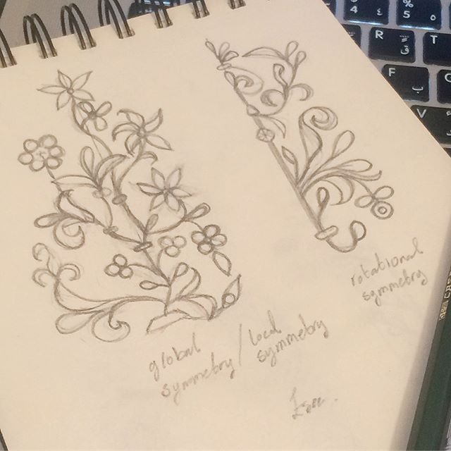 Sketching Another Floral Biomorphic Pattern From The Cordoba Mosque And Looking At The Symmetries In Them رسمة ث Arabian Pattern Butterfly Wall Pattern Design