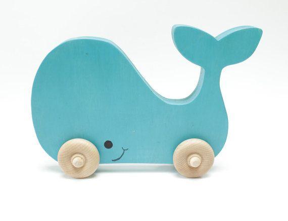 Children's Blue Painted Whale Wood Puzzle with par berkshirebowls