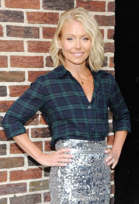 Kelly Ripa at the set of Late Show with David Letterman in April 2015...