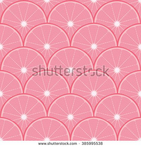 Seamless Pink Grapefruit Citrus Pattern Background - stock vector
