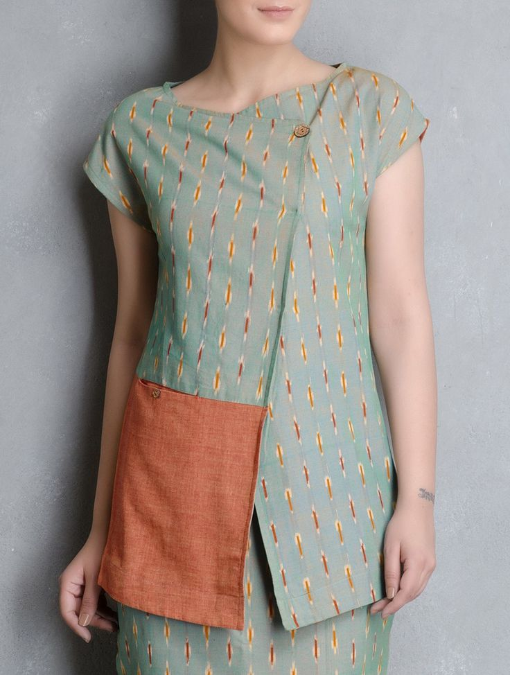 Buy Green Orange Ikat Cotton Tunic by Indian August Apparel Tunics & Kurtas Sandhi Skirts More Online at Jaypore.com