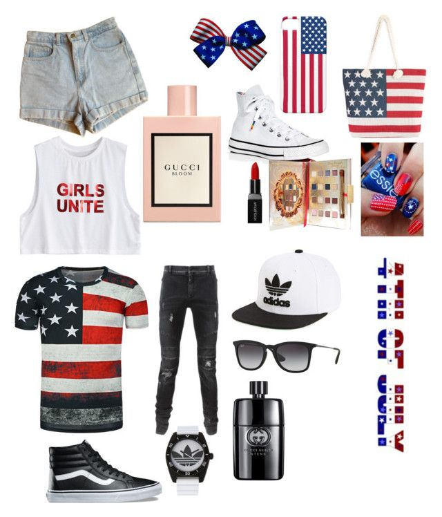 """4th of July"" by biebersfuturegirl on Polyvore featuring American Apparel, Converse, Smashbox, Disney, Gucci, Balmain, Vans, adidas, adidas Originals und Ray-Ban"