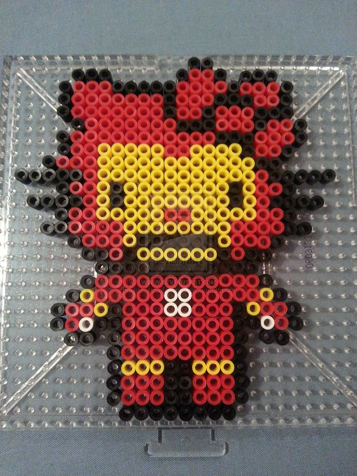 Hello Kitty Iron Man Perler Bead Figure by AshMoonDesigns on deviantART