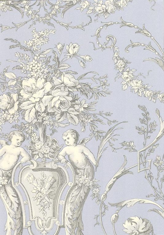 Cherub Toile Wallpaper A traditional wallpaper with cherubs in white and grey on blue background