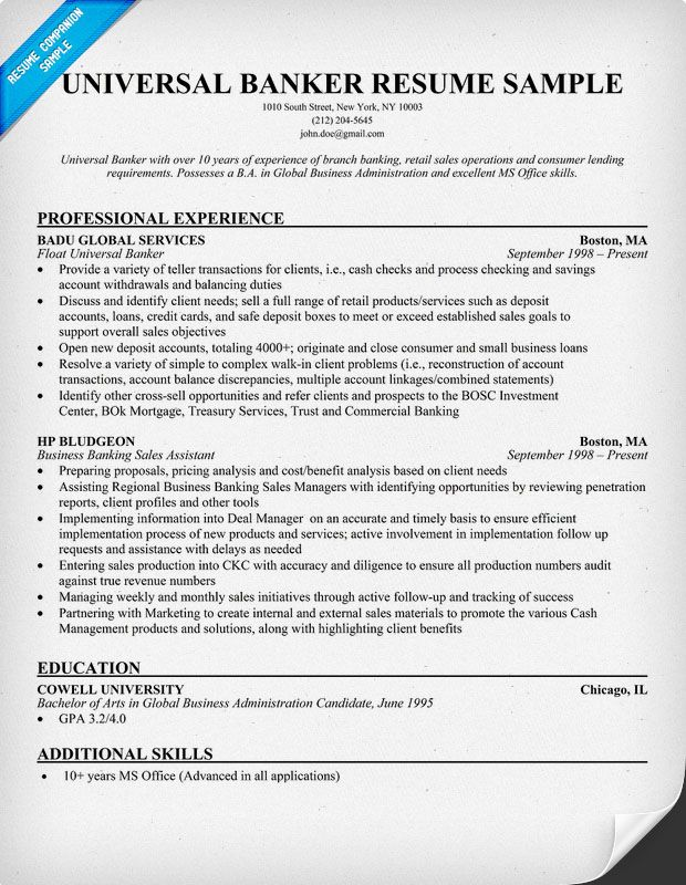 universal banker resume  with images