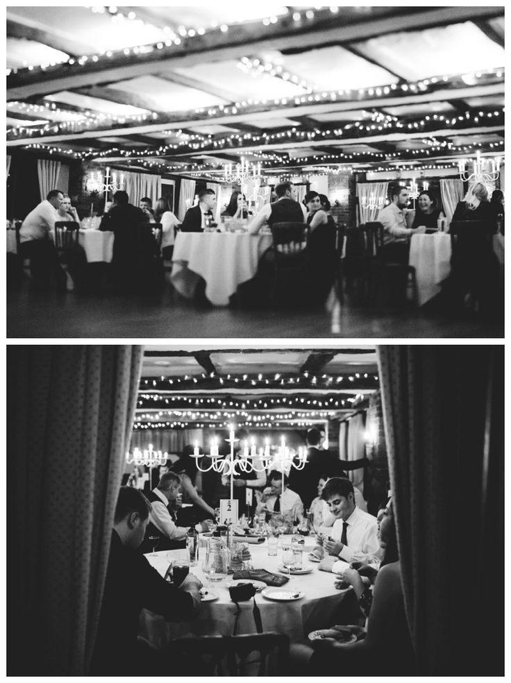 Stunning dining room at High Rocks, guests eating drinking laughing, fairy lights and candles www.ellen-richardson-weddings.com