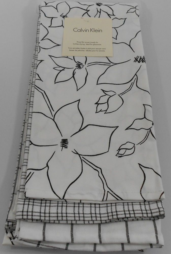 Calvin Klein Kitchen Tea Towels Set Of 3 Floral Plaid White Black 100 Cotton Calvinklein Kitchen Tea Towels Tea Towels