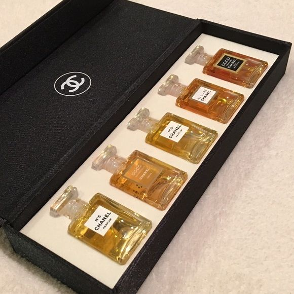 "Chanel Perfume Fragrance Wardrobe. Consists of miniature bottles of five Chanel perfume scents in their ""parfum"" concentration: Chanel No 5, No. 19, Coco, Coco Mademoiselle, and Allure. All are divine!"