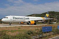Thomas Cook Airlines Airbus A321-211(WL) G-TCDJ aircraft, taking off Greece Thasos Alexandros Papadiamantis International Airport. 12/08/2016.