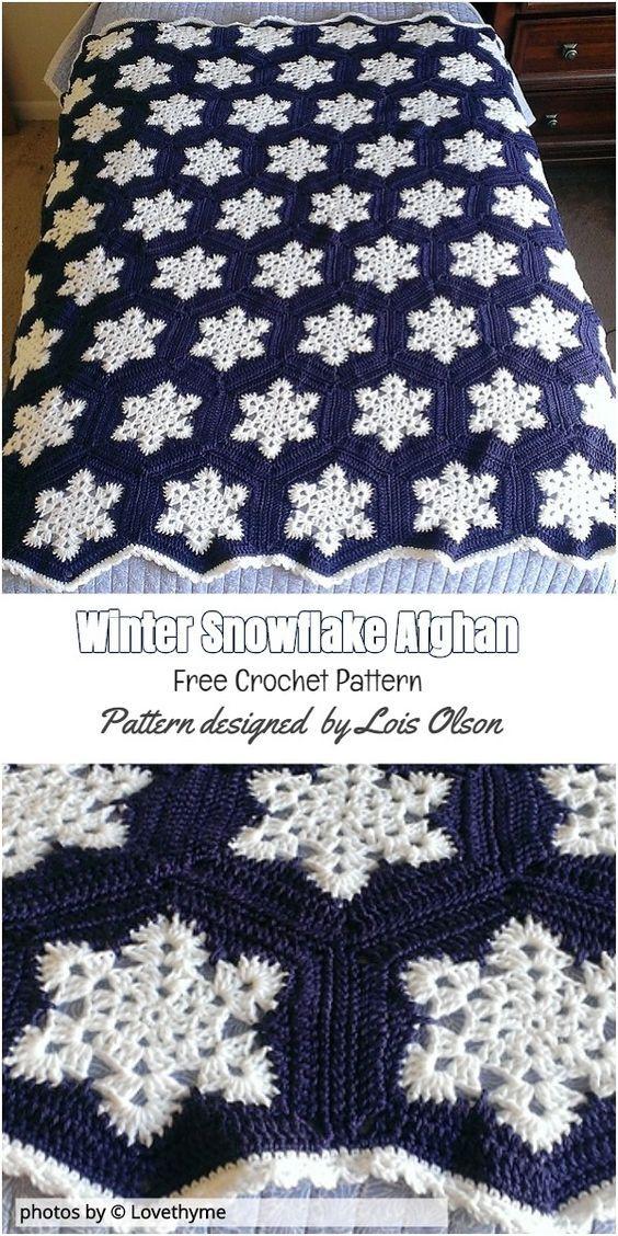 Winter Snowflake Afghan Pattern Idea Crochet Winterafghanidea