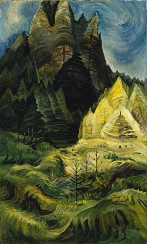 Emily Carr (1871 - 1945), Reforestation,  1936, oil on canvas, 110 x 67.2 cm,  Gift of the Founders, Robert and Signe McMichael, 1966.16.17