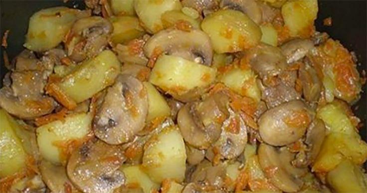 """""""Cartofii înăbușiți cu ciuperci"""" poate fi atribuită celor mai simple rețete, dar anume aceste feluri de mâncare simple sunt și cele mai gustoase. Această rețetă se prepară foarte ușor și pot face față chiar și gospodinele începătoare. Este o mâncare delicioasă ce poate fi pregătită în post, este foarte consistentă, numai bună pentru un prânz …"""