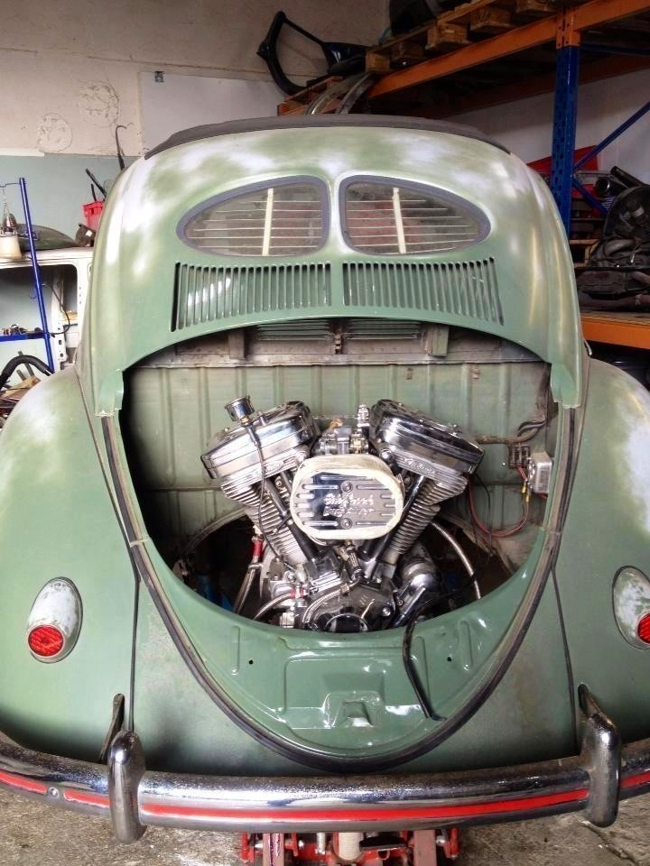 So instead of a VW-powered trike, you could have a Harley-powered VW.