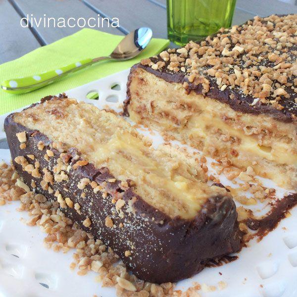 Esta tarta de galletas y flan es un clásico de la repostería sencilla. Recuerda que las galletas deben ser firmes porque si no se deshacen con el flan.
