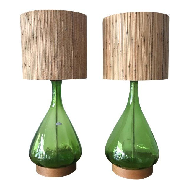 Pair Of Unusual Blenko Olive Green Glass Table Lamps W What Looks Like Grasscloth Drum Shades Circa 1960s Mid Century Table Lamp Beautiful Lamp Green Glass