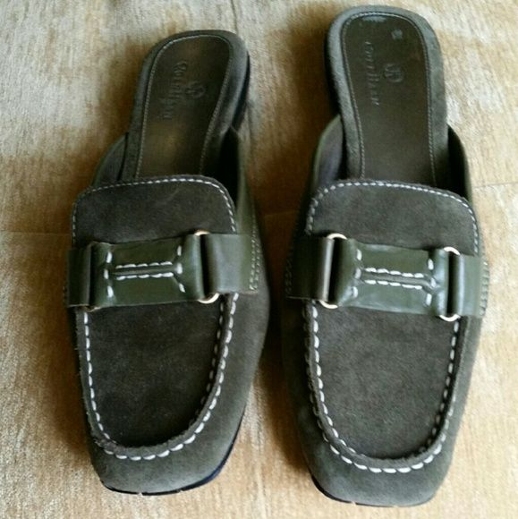 Suede Cole Haan looafers Cole Haan slide on loafers with Nike air technology sz 9AA GUC Green Suede Cole Haan Shoes Flats & Loafers