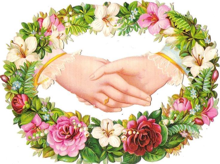 Oblaten Glanzbild scrap die cut chromo Hand  15cm  Blumen Kranz flower wreath