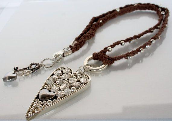 #Hemp #Necklace Braided Silver Round Beads Heart Bezel by FancyLotus