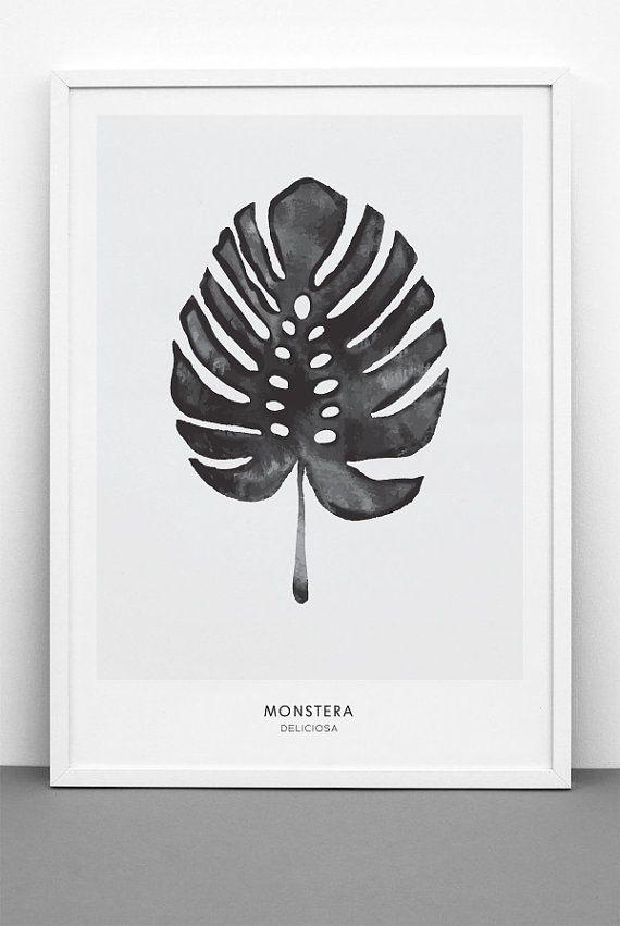 Monstera, Cheese Plant Leaf - PRINTABLE FILE. Tropical Leaf Printable Poster…
