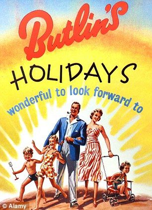 A 1950s Butlin's holidays advertisement when workers only received an average of 16 days holiday a year
