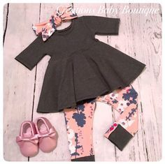 Baby girl dress top , leggings and headband , baby outfit , baby girl fall outfit newborn to 18-24 months by CreationsBabyB on Etsy